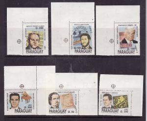 Paraguay-Sc#2373-8-unused NH set-Writers-Musicians-1991-