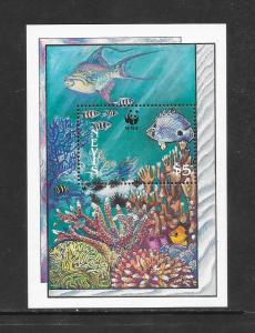 FISH-CORAL -  NEVIS #595 WWF ISSUE  MNH