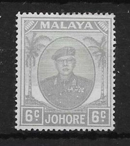 MALAYA JOHORE SG137ac 1952 6c PALE GREY ST.EDWARDS CROWN WMK VAR MTD MINT