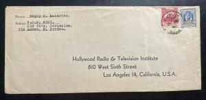 1950 Amman Jordan Cover to Hollywood Radio Los Angeles CA USA