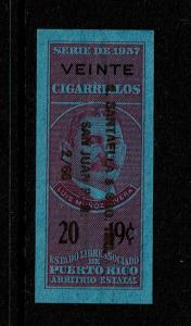 Puerto Rico 1957 20 / 19c Cigarettes Tax Stamp Used  - S8402