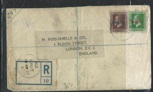 NIUE COVER (P2707BB) 1920 KGV 1/2D+2D REG TO ENGLAND