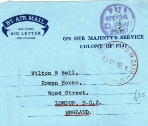 FIJI AIR-LETTER Official *PAID IN CASH* Suva Public Works Dept GB 1962 LS195