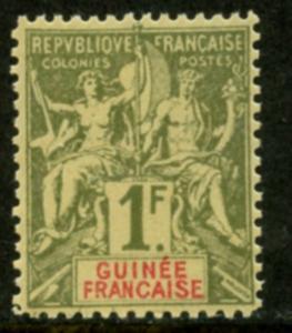 FRENCH GUINEA Sc#17 1892 1 fr bronze green on straw Mint OG LH
