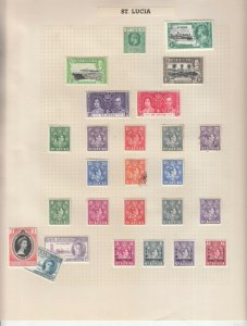ST LUCIA ALBUM PAGE  VALUES MOSTLY 1937-55, MOUNTED MINT
