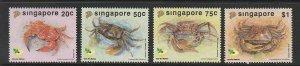 1992 Singapore -Sc 637-40 - 4 singles - MNH VF - Crabs
