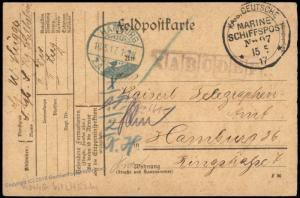 Germany WWI Navy SMS Koenig Wilhem MSP97 Feldpost Cover 75496
