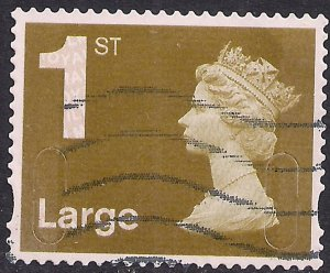 GB 2009 - 17 QE2 1st Large Letter Gold Machin used SG U2976 ( J613 )