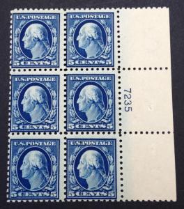 momen: US Stamps #428 Mint NH OG Plate Block of 6