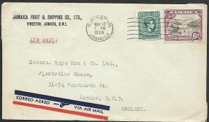 JAMAICA 1938 6½d airmail rate cover Kingston to UK.........................49723