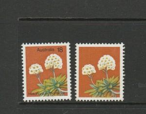 Australia 1975 Wild Flowers 18c, BLACK OMITTED, UM/MNH with Normal SG 608a