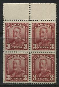 Canada 1929 3 cents carmine unmounted mint NH block of 4