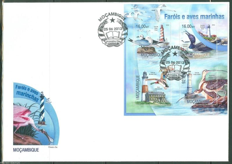 MOZAMBIQUE  2013 LIGHTHOUSES AND MARINE BIRDS SHEET FIRST DAY COVER