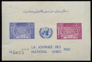01819 Afghanistan Scott# 476-477 souvenir sheet imperf MNH United Nations logo