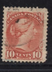 Canada Sc 45 1897 10c brown red small Queen Victoria stamp used