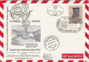 Austria 1964 Balloon+Flags Slogan Cancel Balloon Post Stamps FDC Cover Ref 28090