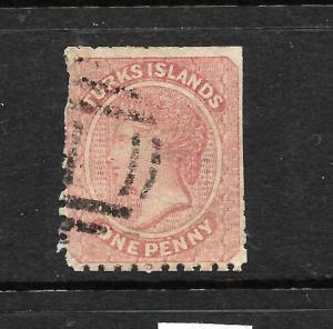 TURKS IS 1867   1d ROSE QV  FU  SG 1