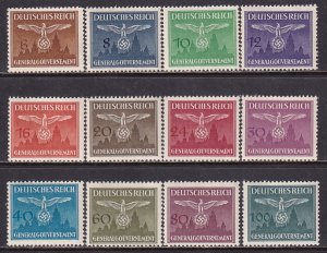 Poland 1943 Sc NO25-36 Nazi Emblem Cracow Castle German Occupation Stamp MNH