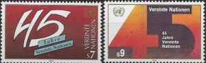 1990 United Nations Vienna 45 Anniversary of UN SC# 103-104 Mint