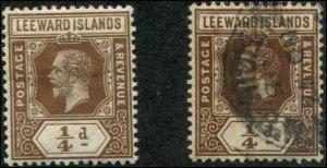 Leeward Islands SC# 46 George V  1/4d wmk 3 MH & used