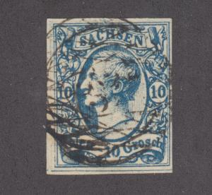 Saxony Sc 14 used. 1856 10ng milky blue King John I, 4 margins
