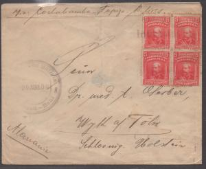 *Brazil Cover #73 Block of 4, Buenos Aires 1909, Backstamped