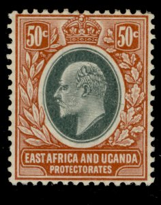 EAST AFRICA and UGANDA EDVII SG41, 50c grey-green and orange-brown, LH MINT.