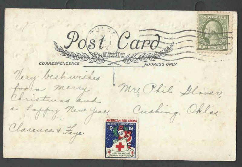 1919 PPC* Xmas Seal #WX24 Unchecked Untied For Type On New Years Card