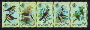 Seychelles Fody Heron Bulbul Swift Lovebird Birds Strip of 5v SG#441-445