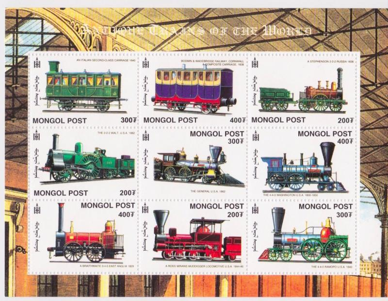 Mongolia - Trains, 2000 - Sc 2443 Sheetlet of 9 MNH