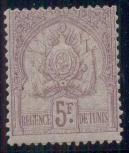 TUNISIA #26 5fr red lilac, og, hinged, VF, Scott $190.00