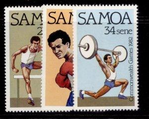 SAMOA QEII SG625-627, 1982 commonwealth games set, NH MINT.