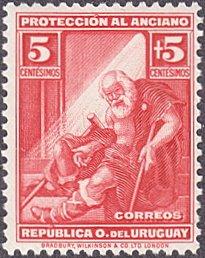 Uruguay # B3 mnh ~ 5¢ + 5¢ Indigent Old Man