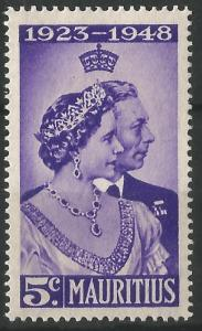 Mauritius 1948 George VI Royal Silver Wedding Stamp Unmounted Mint