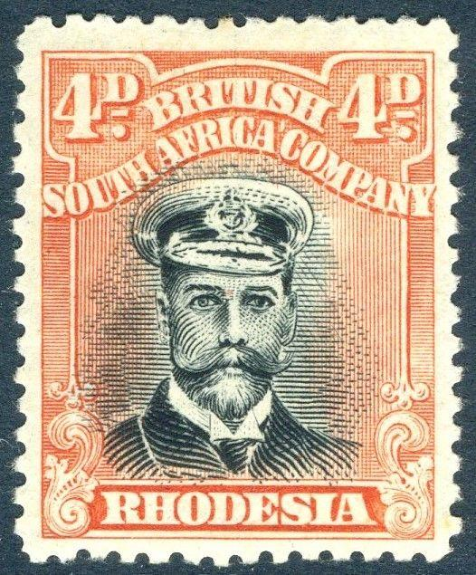 RHODESIA-1919 4d Black & Dull Red Sg 262 LIGHTLY MOUNTED MINT V18570