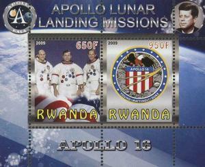 Rwanda Apollo 16 Lunar Landing Missions Souvenir Sheet of 2 Stamps Mint NH