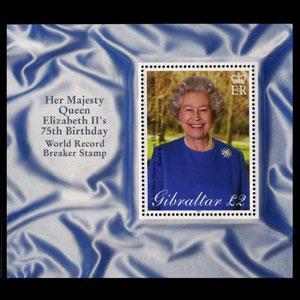 GIBRALTAR 2001 - Scott# 880 S/S Queen Birthday NH