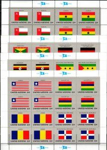 United Nations #450-65 MNH Flag Sheets CV $19.20 (X2294L)