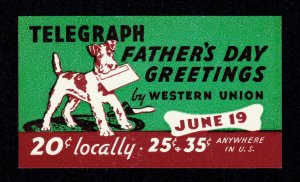 POSTER STAMP WESTERN UNION TELEGRAPH FATHER'S DAY GREETINGS DOG MNH-OG