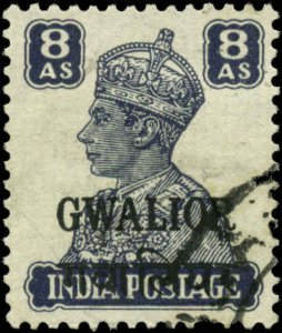 India, Convention States, Gwalior Scott #125 Used