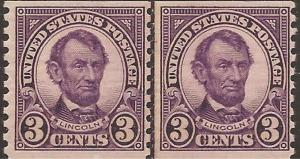 US Stamp 1924 3c Lincoln Coil Line Pair LH Scott #600