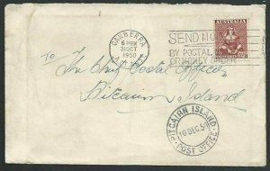 AUSTRALIA TO PITCAIRN 1950 cover with arrival cds..........................59790