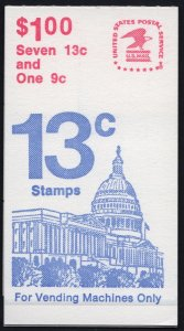 SC#BK131 Booklet: 13¢ Flag Over Independence Hall & 9¢ Capitol Dome (1977) MNH