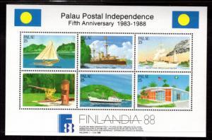 Palau 196 Finlandia Souvenir Sheet MNH VF