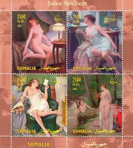 Somalia 2004 Jules Scalbert Famous Nudes Paintings Sheetlet  (4) Perforated MNH