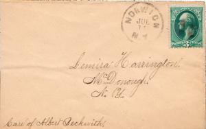 United States New York Norwich c1875 cork killer  3c Washington Banknote.