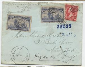 1896 Halifax MA registered cover 2x 4 cent Columbian issue to NYC [3662]