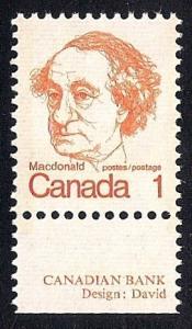 Canada #586 1 cent John McDonald mint OG NH EGRADED VF-XF 85