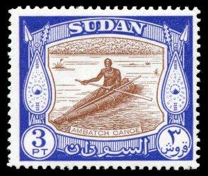 Sudan 1951 KGVI 3p brown & dull ultramarine MLH. SG 131. Sc 106.