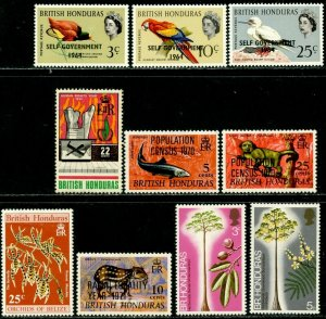 BRITISH HONDURAS Sc#183//302 1964-72 Various Commemoratives OG Mint Hinged